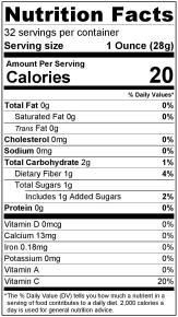 Nutrition Label Acerola Puree 32oz