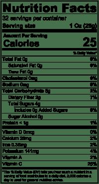 Nutrition Label Kumquat Puree 32oz