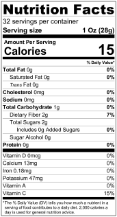 Nutrition Label Raspberry Puree 32oz