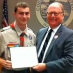 Patrick Tornes receiving commendation for Eagle Scout Service Project