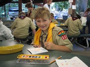 Boulder Creek Scout Reservation pavilion art merit badge class