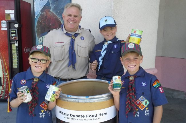 Cub Scouting collecting food for Scouting For Food