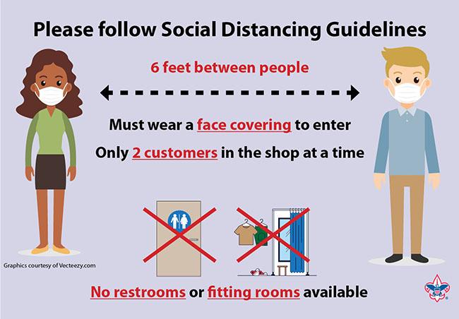 Scout Shop social distancing graphic