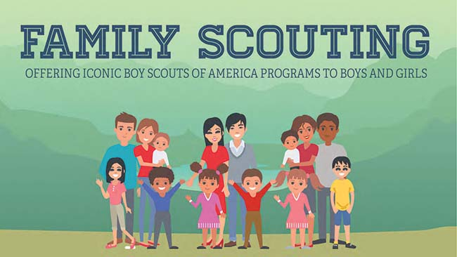 Family Scouting illustration with 3 families