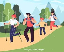 Illustration of family walking in nature