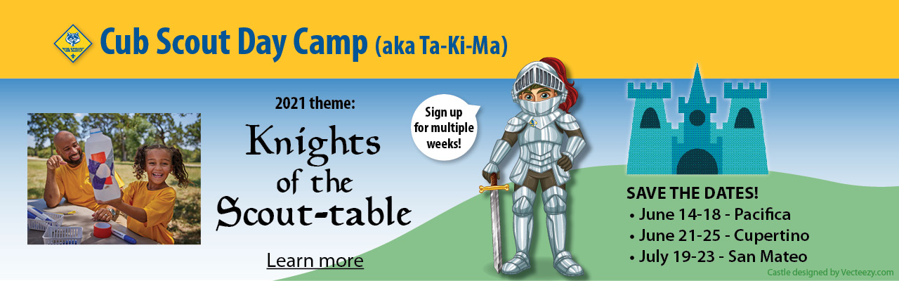 2021 Cub Scout Day Camp banner with knight and castle