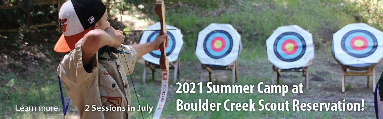 2021 Summer Camp banner, boy doing archery