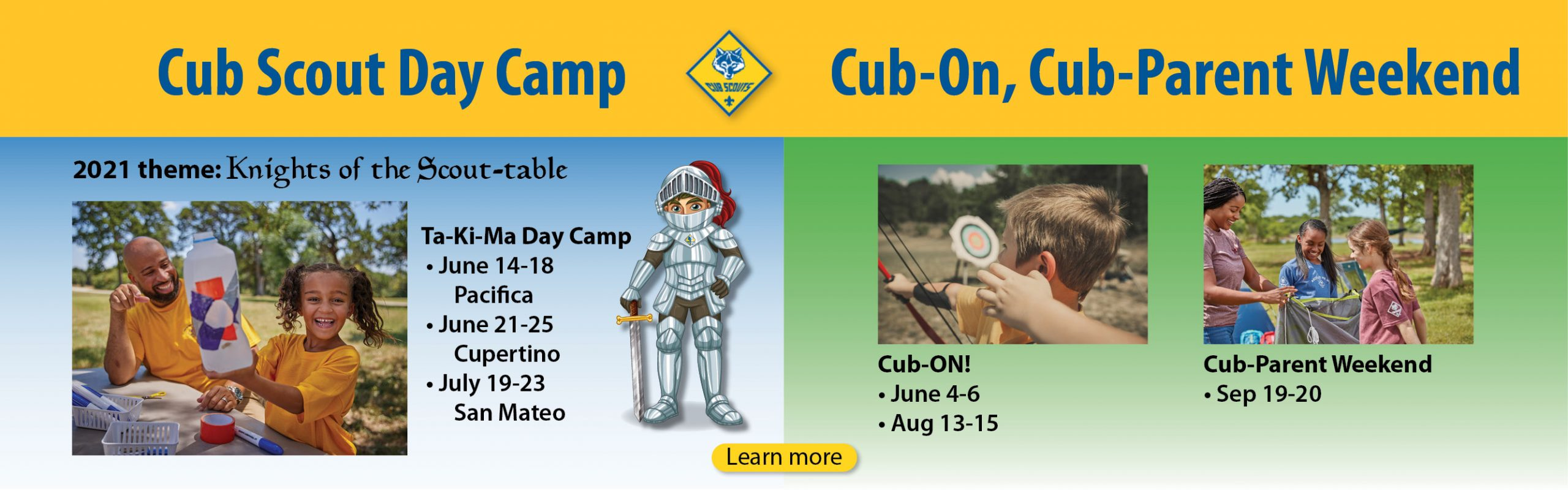 Day Camp, Cub-On, Cub-Parent Weekend banner