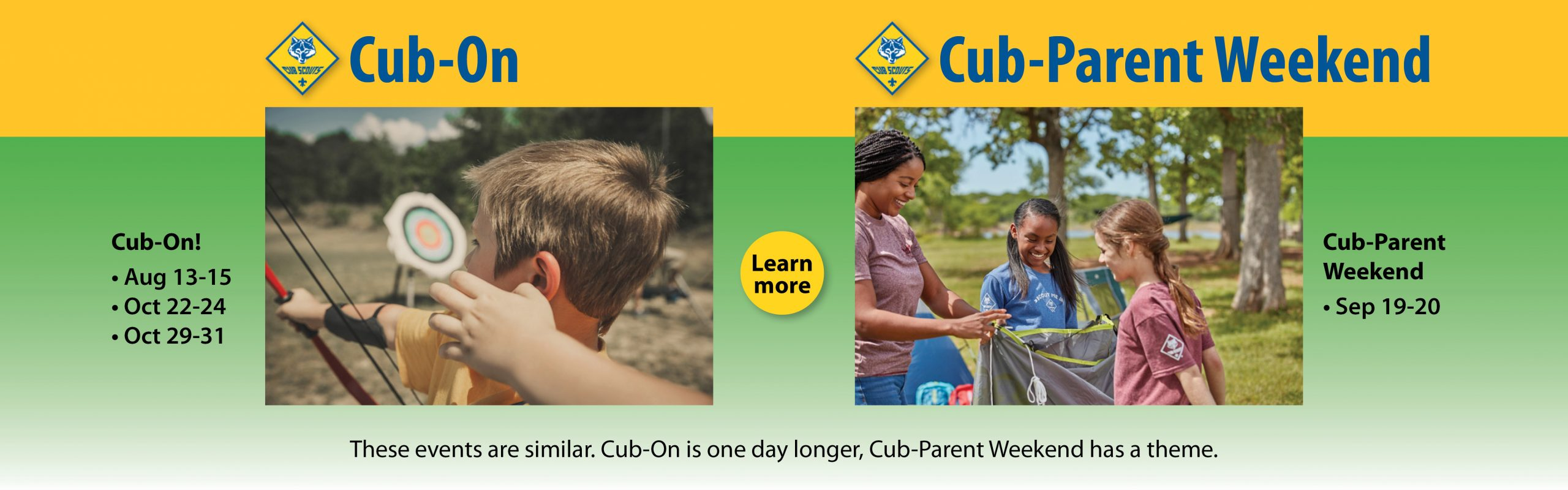 Cub-On, Cub-Parent Weekend banner