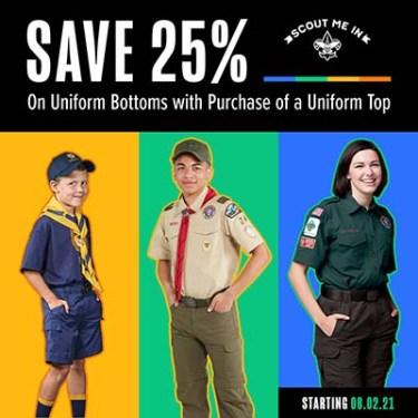 Scout Shop sale banner, buy a uniform top, get 25% off bottoms