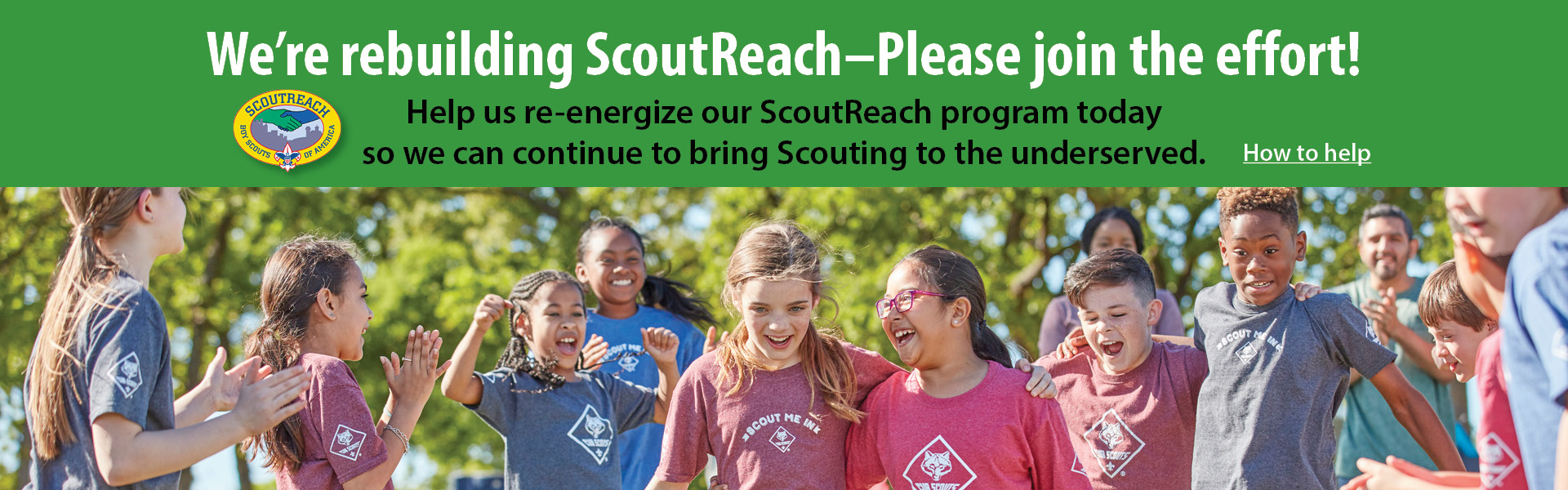 "Green ""Rebuilding ScoutReach"" banner"