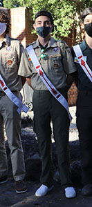 Zach Graham in uniform with Order of the Arrow sash