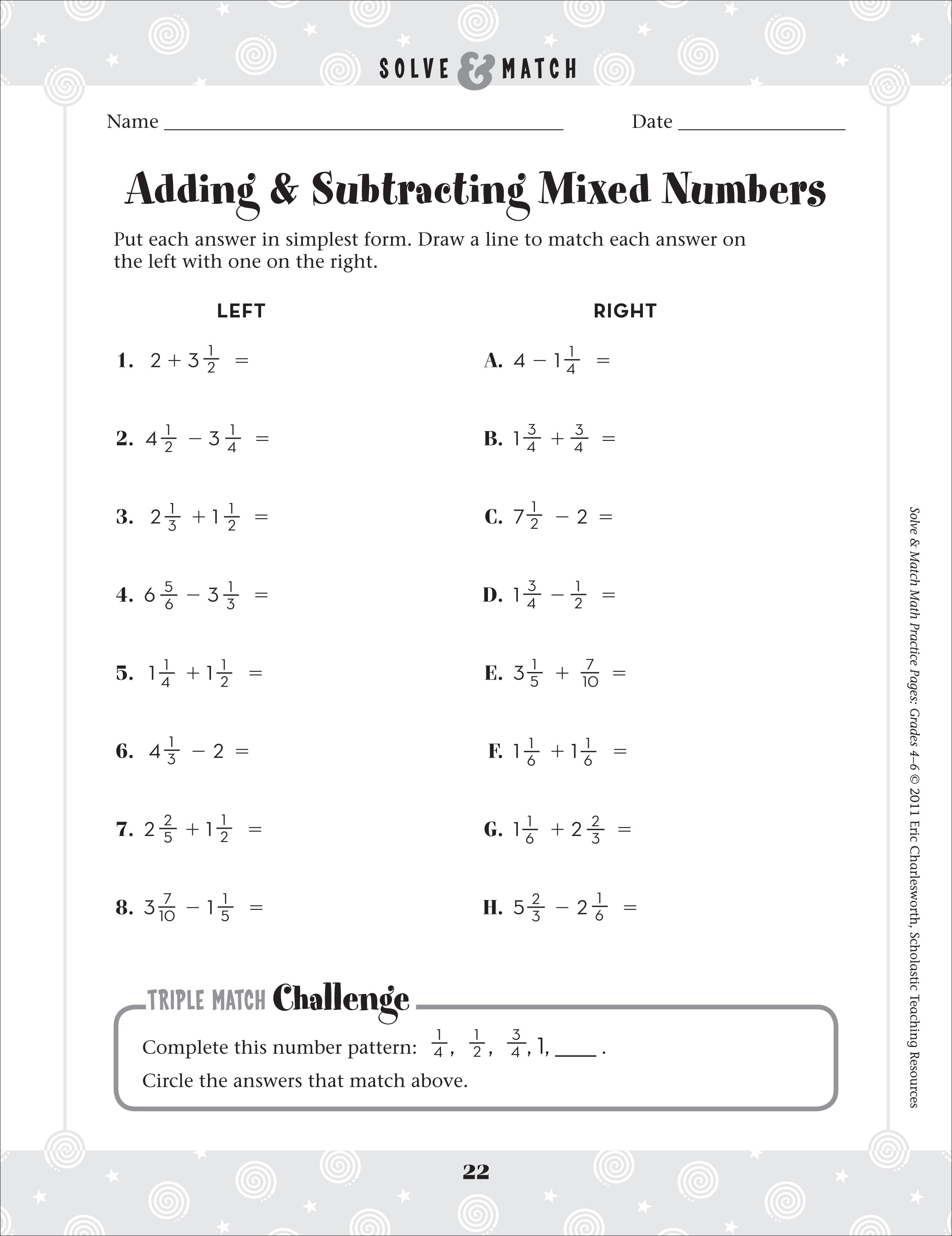 4th Grade Mixed Fractions Worksheet With Answers