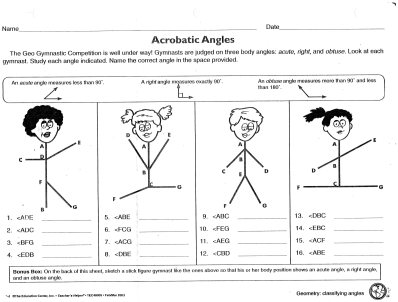 Acrobatic Angles Worksheet Obtuse Acute Right