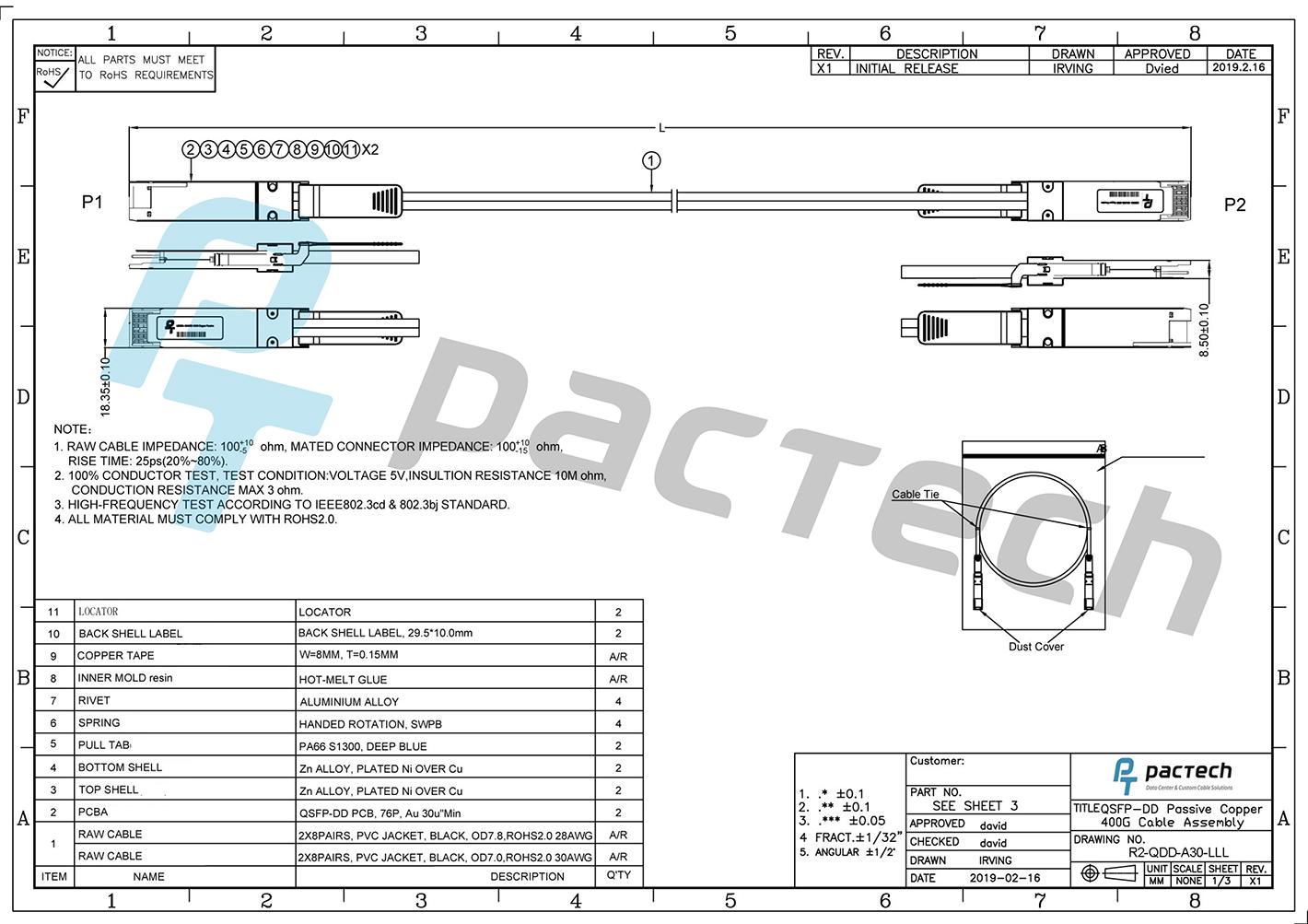 New Direct Attach Copper Dac Cable