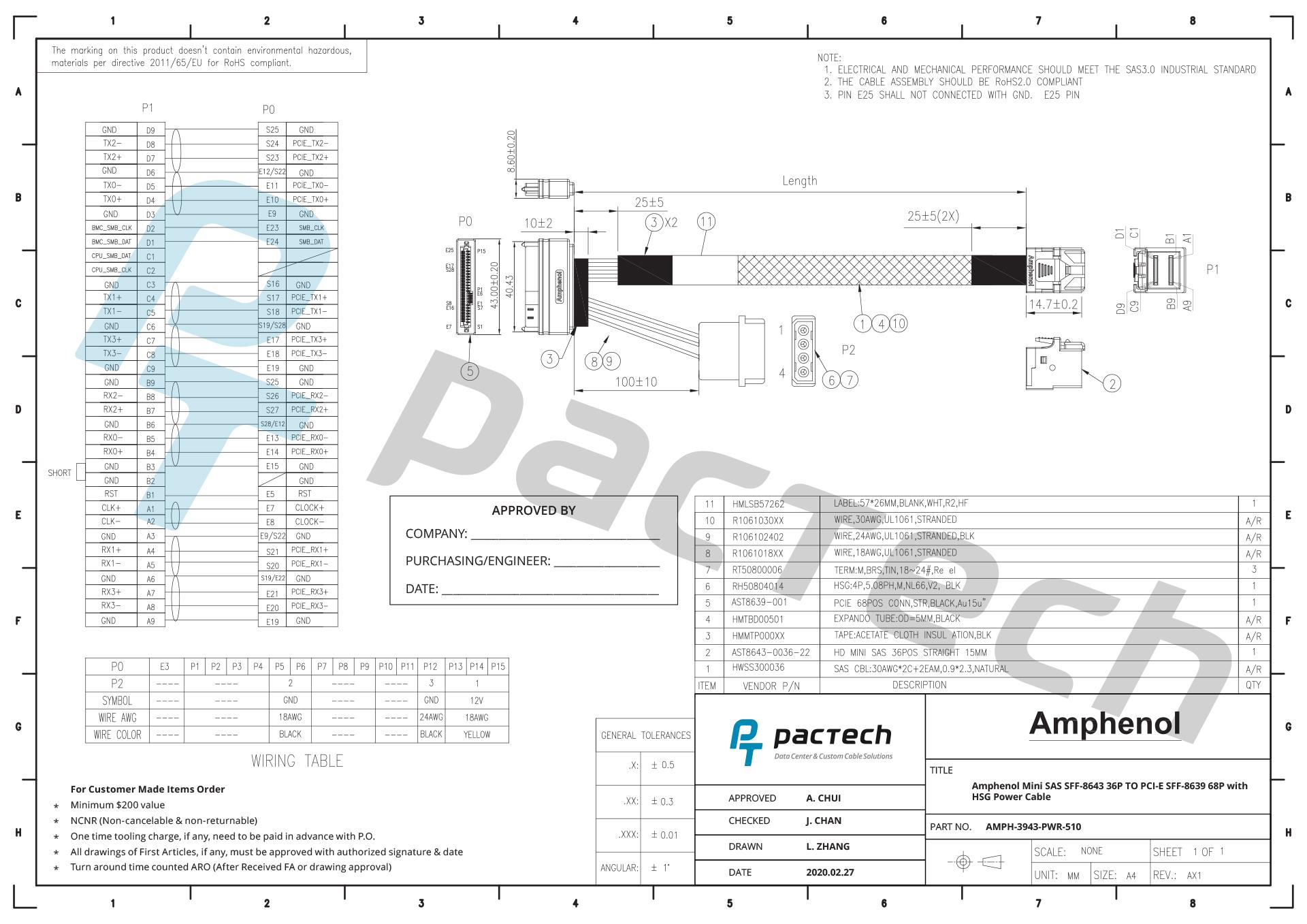 Amphenol 29p Sas Sff To Sata Lp4 Power Cable