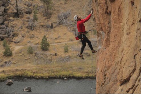 Ted Wogan on 5.10c route Walking While Intoxicated