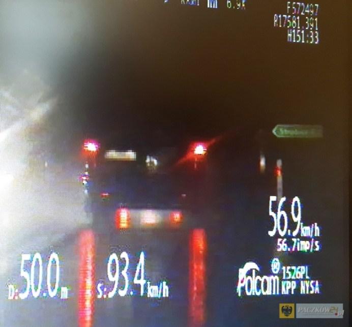 Policjanci z Nysy jednego dnia zatrzymali trzech kierowców bez uprawnień. Zdjęcie z policyjnego fotoradaru.