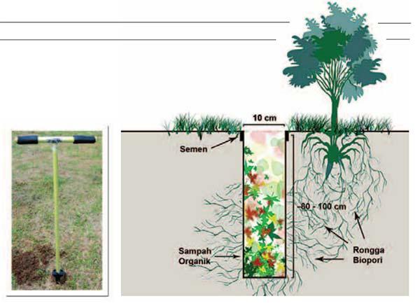 Membuat Lubang Resapan Biopori