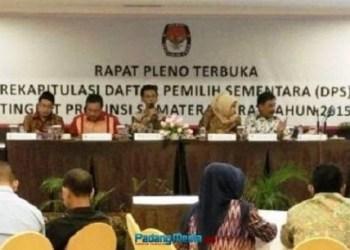 Rapat pleno DPS KPU Sumbar di Hotel Bumi Minang, Kamis (3/9) malam. (baim)