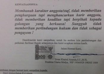Foto Kutipan surat Kepala Badan Kesbangpol Irvan Khairul Ananda kepada Ketua DPRD Sumbar. (feb)