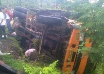 Truk pengangkut inti sawit terjungkal ke dalam sawah setelah dihantam truk pengangkut BBM di kawasan Jalamu, Batangkapas, Pesisir Selatan, Jumat (24/2) dinihari. (fahmi)