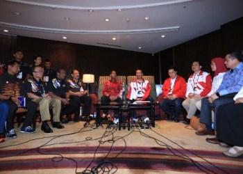 Menteri Belia dan Sukan Malaysia Khairy Jamaluddin usai melakukan pertemuan dengan Menpora Imam Nahrawi, di Hotel Shangrilla, Kuala Lumpur, Malaysia, Minggu (20/8) siang. (ist)