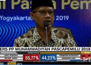 Ketum Muhammadiyah Haedar Nashir saat memberikan pernyataan pers. (foto:   cnnindonesia)