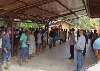 Karantina pekerja PT MSL Lunang baru datang dari Medan. (Dok. GTPP Covid-19 Pessel)