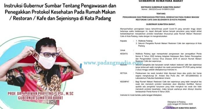 Instruksi Gubernur Sumbar untuk wali kota Padang dan seluruh rumah makan di Padang. (ist)