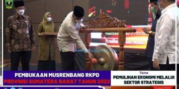Pembukaan Musrenbang RKPD tahun 2022 oleh Gubernur Sumbar Mahyeldi, Jumat (9/4/2021). (Dok.Pemprov)
