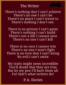 The Writer - P.A. Davies Poem Image