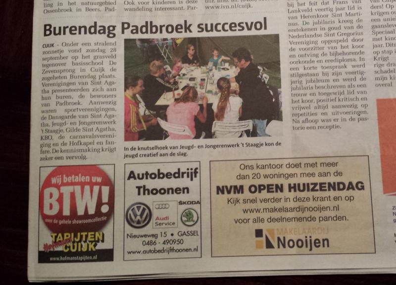 Burendag Padbroek - St. Agatha in Cuijks Weekblad