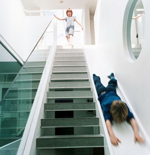 Stairs with a slide