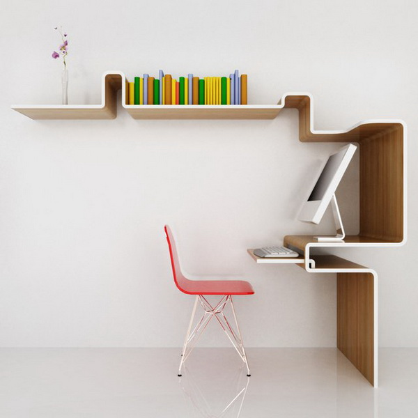 Wall shelf desk