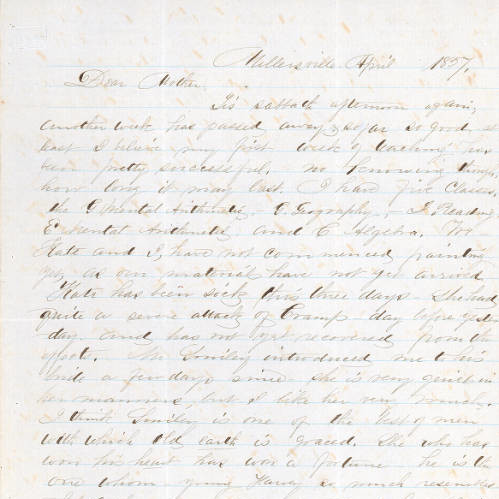 Handwritten Sallie E. Bolton letter, April 1857