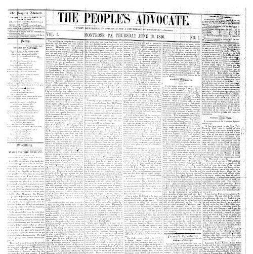 Front page of The People's Advocate, June 18, 1846