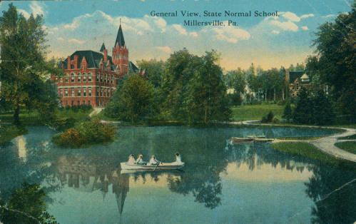 Color postcard depicting an illustration of State Normal School, Millersville, PA, 1907
