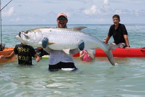 BIG Tarpon caught from a kayak