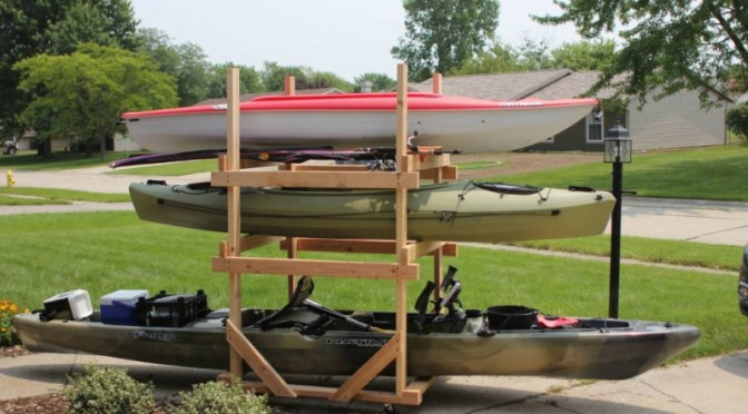 DIY Rolling Kayak Storage Rack (2x4s and caster wheels)