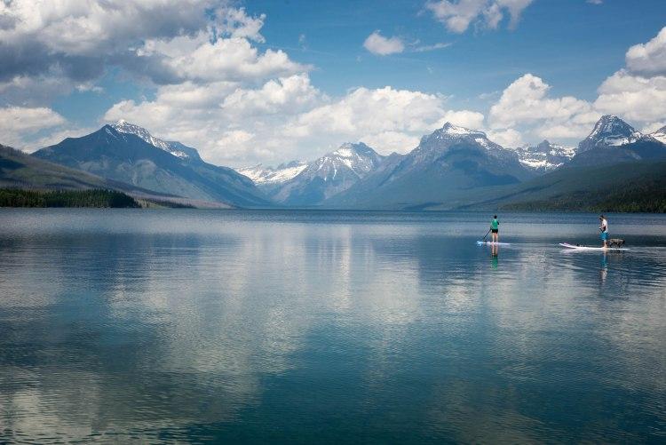 SUP paddlers on Flathead Lake