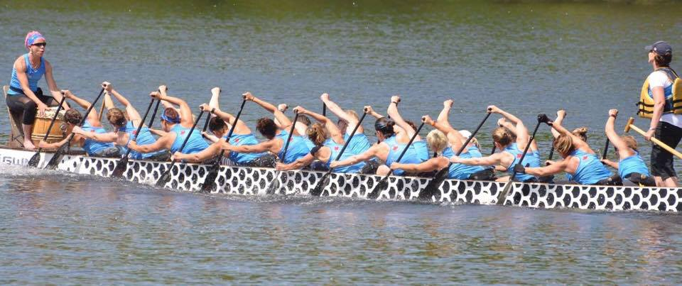 Outer Harbour Senior Women paddling to the start line