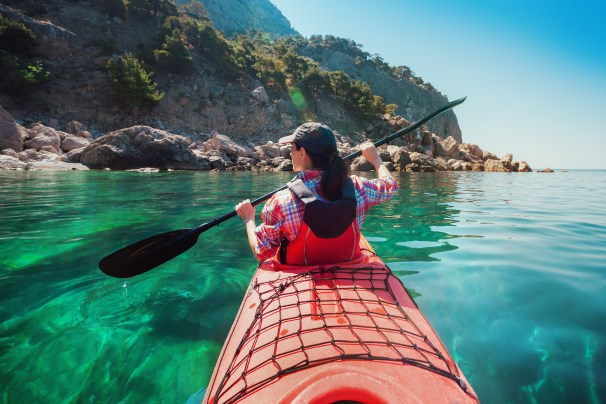 Learning to kayak at sea can be tricky