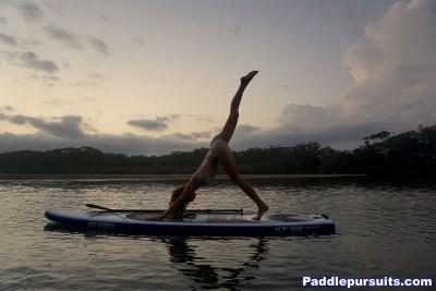 SUP Yoga standup paddleboard - one legged downward dog pose