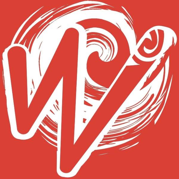 White Waka Splash Emblem   Red Background