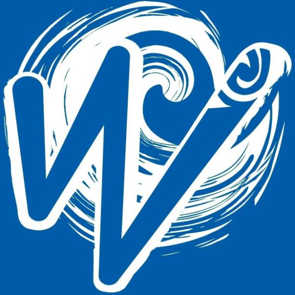 White Waka Splash Emblem   Blue Background