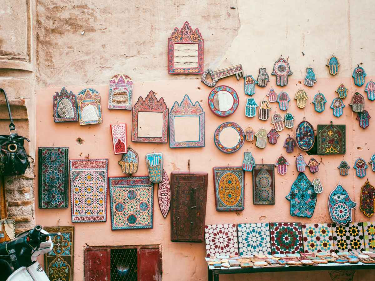 traditional oriental decorative souvenirs presented in local market