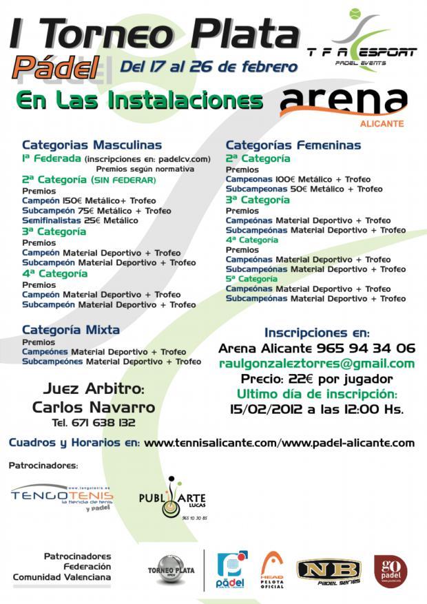 I TORNEO PLATA TFA Tercer torneo Plata de #padel para la provincia de Alicante