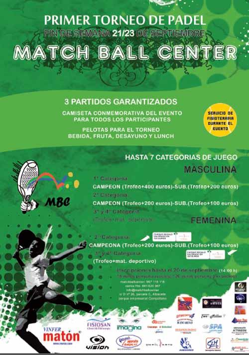 Match Ball Center Padel Club I Torneo MBC. Club de Padel Indoor de Albacete.