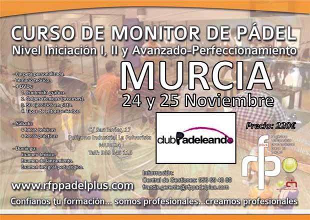 CARTEL CURSO MONITOR DE PÁDEL Curso de Monitor de Padel en Murcia.